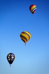Los Tres Floating Amigos (matthewkaz) Tags: balloon balloons hotairballoon hotairballoons sky flying balloonfest michiganchallenge howell michigan 2016