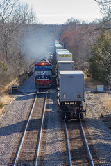 NS 211 and NS 12R meet at Burnley, just south of Barboursville, VA.  12R had the Veteran's Unit special interest locomotive leading an SD60.  Excellent catch! (bdunn829) Tags: railroad ns trains veterans containers norfolksouthern burnley emd railfanning sd60 mixedfreight manifesttrain emdsd60 veteransunit ns211 emdsd60e ns12r burnleystationroad
