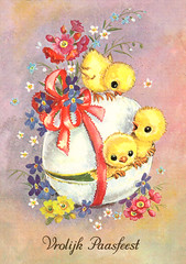 Easter greeting card of the sixties (Karin Riper († 24 April 2015)) Tags: flowers floral animal vintage easter egg illustrations chicks greetingcard sixties karinriper