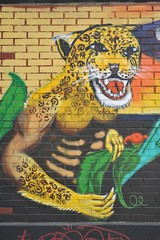 Jaguar Warrior Mural Mexico Oaxaca (Ilhuicamina) Tags: streetart animals paintings murals mexican walls tigre jaguars oaxacan