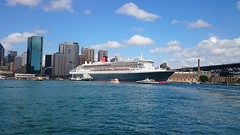 Queen Mary 2 in Sydney Harbour yesterday.