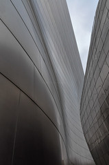 Between Two Surfaces (anarogu) Tags: california city morning blue sky sculpture music sun building art horizontal skyline architecture modern night frank photography lights design hall los concert stainlesssteel theater downtown cityscape artistic theatre angeles outdoor contemporary steel stage nobody landmark gehry center disney entertainment photograph orchestra venue walt sculptural symphony philharmonic auditorium urbanscene symphonic orchestral