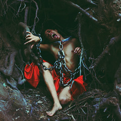 Convicted (Carlos Castaeda') Tags: red inspiration tree photoshop chains pain blood woods roots explore fabric jail cave suffering edit slave expansion fineartphotography malibucreekstatepark convicted conceptualphotography brookeshaden