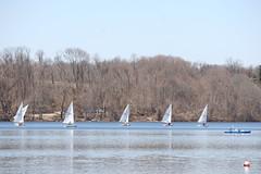No, Fred!  The Other Way! (eyriel) Tags: lake water sailboat boats boat sailing humor sail sailboats