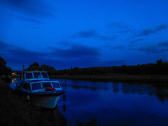 all is calm (watergypsyrach) Tags: boat canal mexbrough rotherham southyorkshire southyorkshirenavigation blue dusk nightsky landscape nikoncoolpixs7000 uk england
