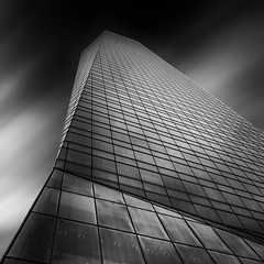 Isolated Vision Series : Top Peak [Explored] (Robert Blauton) Tags: madrid longexposure sky abstract building architecture modern facade skyscraper blackwhite spain geometry fineart wide wideangle filter effect futuristic blacksky