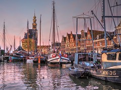 Hoorn Harbor Dawn (joiseyshowaa) Tags: holland dutch bike bicycle ride country north netherlands hoorn harbor boats ship morning dawn dusk evening twilight pink mast clock tower castle wall dike dijk markermeer sea ocean lake hdr