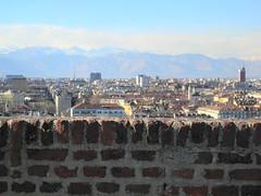 brick wall and the city (Hayashina) Tags: city italy mountains brick texture wall torino turin