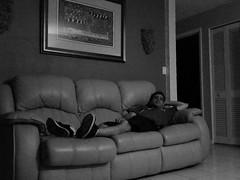 Simply Chillin' (Michel Curi) Tags: monomonday monochrome blackandwhite bw people couch indoors house livingroom relax portrait selfie selfportrait