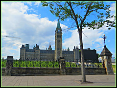 Parliament Hill Fenced - HFF (bigbrowneyez) Tags: parliamenthill architecture fabulous beautiful fence decorative design pretty stone downtown fancy sunny grass hill sussex outdoors iron stunning striking awesome fantastic tree sky clouds albero cielo nuvole nature natura lamppost luce pietre tower clock dof