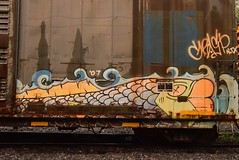 GRASP (TheGraffitiHunters) Tags: graffiti graff spray paint street art colorful freight train tracks benching benched grasp boxcar fish