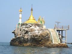 Every Rock Got It Spirit (Give-on) Tags: asia burma myanmar ngapali beach bayofbengal rock pagoda temple buddhist gold sea ocean