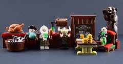 The viking tavern (Alex THELEGOFAN) Tags: lego bear beer money cash card playing fishes fish barrel dwarf bagpipe bagpipes bagpiper fili the turkey chicken bar tavern glass glasses legography