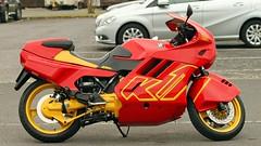 BMW K1 (BIKEPILOT, Thx for + 5,000,000 views) Tags: red bike yellow airport transport motorbike redhill motorcycle vehicle airfield aerodrome bmwk1