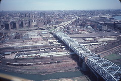 Aerial view of Triborough Bridge to Bronx   1984 (NYCEDC) Tags: bronx rail nycwaterfront bronxkill nycedc newyorkcitywaterfront robertfkennedybridge edcportstransportation