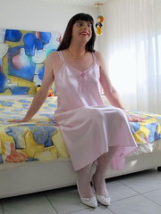 Perfect and ready (Paula Satijn) Tags: pink sexy girl bed shiny soft pumps silk tgirl transvestite satin gurl silky nightgown nightdress nightie