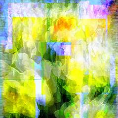 Narcissus, Jonquils, and Blue Skies (virtually_supine) Tags: flowers abstract texture photomanipulation digitalart creative layers jonquils narcissus cubism photoshopelements9 tmichallengeinthestyleof…braquefeiningerleger pse9effectscustomsplatter