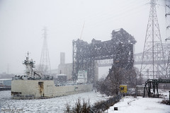 Calumet River - Chicago - Samuel de Champlain and Innovation (RickDrew) Tags: bridge winter lake snow cold ice river flow lift freezing transportation artery canon5d icy innovation slippery calumet wintery mkiii samueldechamplain