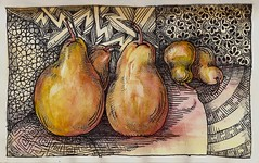 Apparently Pears (molossus, who says Life Imitates Doodles) Tags: watercolor zia zentangle zendoodle zentangleinspiredart stillmanandbirn