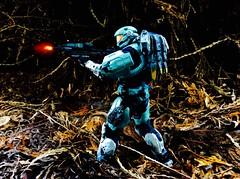 HALO Spartan (Brick Operator) Tags: halo action figures spartan forest toys cool vivid gun cyan