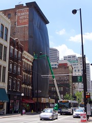 Dennison Hotel Tarp (Travis Estell) Tags: ohio mainstreet downtown cincinnati cbd centralbusinessdistrict historicdistrict downtowncincinnati dennisonhotel columbiadevelopment mainstreetcincy columbiadevelopmentcorporation