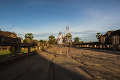 Angkor Bridge (OpersembeArt) Tags: old trip morning bridge blue brown brick green tourism water stone sunrise canon eos ancient sandstone asia cambodia skies angle south ghost wide east backpacking siem reap stacking angkor wat siam canoneos 700d canon700d canoneos700d