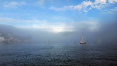 Dartmouth Harbour Mist (TyroneRose) Tags: tyronerose dartmouth harbour sea mist outdoor sky clouds samsungs6edge devon kingswear landscape seascape england uk river estuary coast weather fog boat sail marine harbor quay