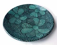 Ceramic Serving Bowl with Flower Design (jmnpottery) Tags: ceramics pottery jmnpottery etsy bowls pots planters utensilholder prepbowls mugs