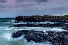 Dunseverick Harbour (Glen Sumner Photography) Tags: rock rugged ireland water sea dunseverick shoreline shore pink cloud colour northernireland seascape ocean dunseverickharbour harbour wet