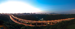 Big Smile Trails (JIMI_lin) Tags: taiwan taipei    sunset  panorama widescreen  cartrack car trails