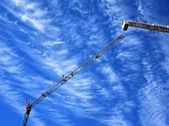 sky high (SqueakyMarmot) Tags: vancouver riverdistrict development constructioncranes blue sky clouds cirrostatus