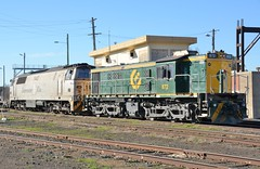 872 & 1443 (rob3802) Tags: outdoors diesel rail railway loco locomotive railyard alco qube 1443 diesellocomotive vechicle 872 dieselelectriclocomotive mzclass 830class goodwinalco greentrains 1400class qubelogistics alco6251b