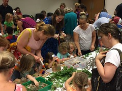 Fairy House Building in the Childrens' Services department at the Main Library.  Children constructed and decorated fairy houses. (ACPL) Tags: fortwaynein acpl allencountypubliclibrary mainlibrary childrensservices children kids fairyhouses
