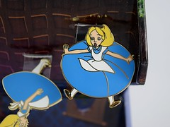 Alice Falling Down the Rabbit Hole Boxed Set - eBay Purchase - Fully Opened - Hanging Up - Closeup #1 - Floating Alice (drj1828) Tags: us disneyland dlr dl60 pin disneypintrading purchase 2016 limitedrelease aliceinwonderland 65th anniversary boxed set falling rabbit hole alice