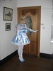 CIMG6765 (sissybarbie1066) Tags: baby satin sissy maid uniform blue answering front door plumping cushion