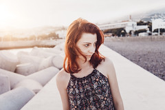 Kaika (Joszhua) Tags: wwwjahpicturecom jahpicture girl female model beauty beautifil beautiful sunset light lensflare flare lightleak redhead red hair rote haare sea ocean vacations madeira germany joshuaahoffmann style mood lifestyle