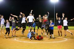 Happy Love to Leap Thursday (Flickr_Rick) Tags: softball outside summer night jump jumping jumpology celebration winningseason champions