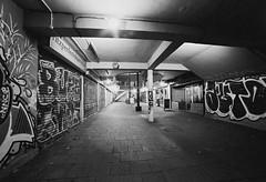 Bear Pit Underpass (joshuacolephoto) Tags: bristol city uk england street streetphotography walk tripod longexposure night lowlight naturallight contrast bnw blackandwhite noir bw film 135 35mm ilford xp2 nikon fe2 slr photography