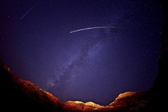 Meteor Shower in Las Vegas (johnsinclair8888) Tags: lasvegas meteor calicobasin night sky milkyway galaxy cliffs nikon sigma space stars outdoors light landscape summer planet mountains nightphoto nikond750 fisheye wideangle sigma15mm perseid rural blue calico redrock