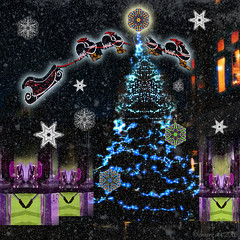 Unconventional and unseasonal (Lemon~art) Tags: sleigh reindeer winter tree lights creatures mirrorimage kaleidoscope layers photomontage fun fantasy