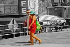 Always Sunny on Brighton Beach (Lidiya Nela) Tags: summer city urban people partialcolor beach streetphotography nyc newyork brooklyn boardwalk brightonbeach color selectivecolor