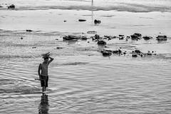 Wading (brev99) Tags: tamron180f35 d7100 colorefex silverefex man water arkansasriver blackandwhite monochrome ripples