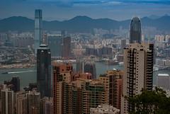 Peak View (camp_bell_) Tags: hong kong island central victoria peak landscape city scape buildings sky skyscraper harbor boat mountains colors pentax k10d