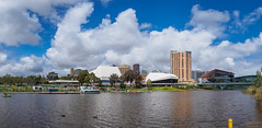 Adelaide, South Australia (Anthony's Olympus Adventures) Tags: adelaide adelaidecbd southaustralia australia sa city cityscape streetscape panorama rivertorrens riverfront water sky stunning wow beautiful amazing nice afternoon weather clouds olympusem10 raw panoramic cityview citycenter river waterway publicspace downtown