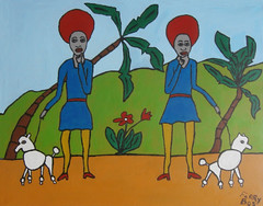 Two ladies in Blue II (yrref2010) Tags: flowers blue people woman dog colour art amsterdam painting blauw acrylic arte modernart schilderij hond poodle dieren modernekunst bloemen schilderijen vrouwen dames mensen palmen 2015 artemoderno acrylverf poedel hedendaags 40x50cm