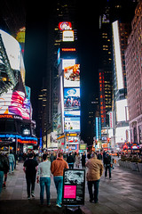Time Square. (Steven.O'Toole) Tags: street new york city light boy shadow people bw woman white man black men girl night canon silver photography grey women day cityscape candid gray 70d 18135mm