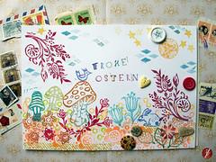 Frohe Ostern! (bornschein) Tags: flower bunny bird illustration ink spring peace heart post handmade stempel