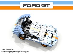 Ford GT40 Gulf/Mirage Racer (1968) (lego911) Tags: auto usa classic ford sports car america model lego render under over lola million mirage 1960s 1968 sebring gt challenge lemans v8 thousand cad racer guld 89 povray gt40 moc ldd miniland p1074 lego911 overamillionunderathousand