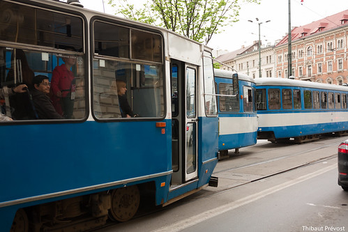 Tramway dans les rues de Cracovie