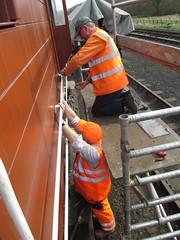 Bob and Duncan fixing handrails to the gaurds van 26Apr15